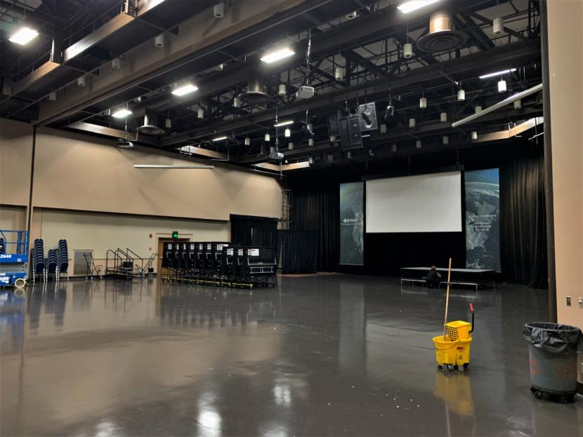 The interior of Centennial Hall. Staff say the city-owned building is in need of updates to its HVAC, sound and lighting systems. (Photo by Adelyn Baxter/KTOO)