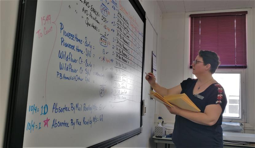 Juneau City Clerk and election official Beth McEwen updates a whiteboard with information about absentee and questioned ballots in a conference room at City Hall on Friday, Oct. 4, 2019.