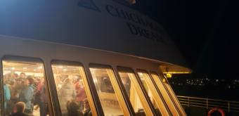 Alaska Travel Industry Association convention-goers schmooze aboard Alaskan Dream Cruises' Chichagof Dream in downtown Juneau on Oct. 9, 2019. The ship was one of several venues for the convention's community night.