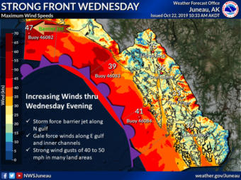This National Weather Service image of Southeast Alaska shows maximum wind speeds and other weather details forecast for Oct. 23, 2019.