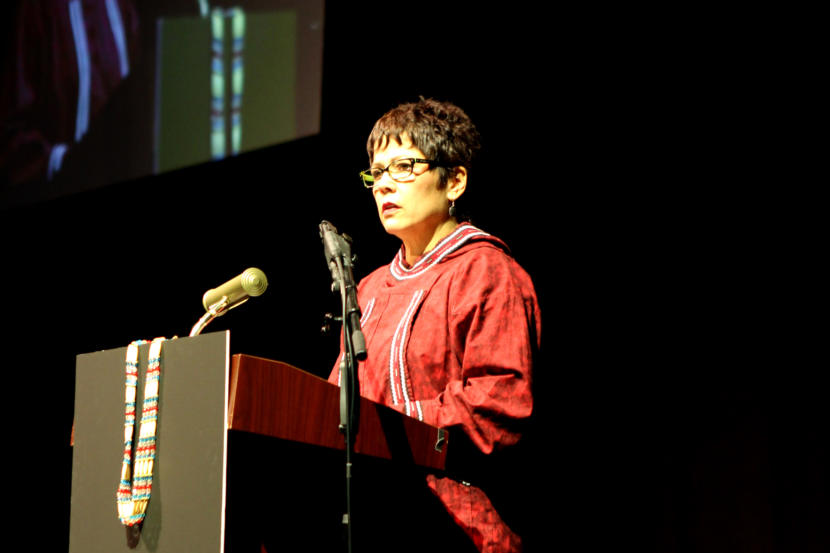 Cook Inlet Region, Inc. President and CEO Sophie Minich speaks about why the Alaska Native corporation supports the recall of Gov. Mike Dunleavy at the Alaska Federation of Natives Convention in Fairbanks on Oct. 18, 2019. (Photo by Casey Grove/Alaska Public Media)