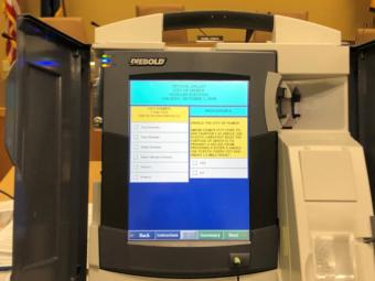 This phot shows the touchscreen of a Diebold voting machine.