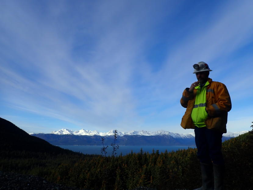 Coeur Alaska General Manager Mark Kiessling stands outside the Comet Portal of Kensington Mine on Oct. 15, 2019.