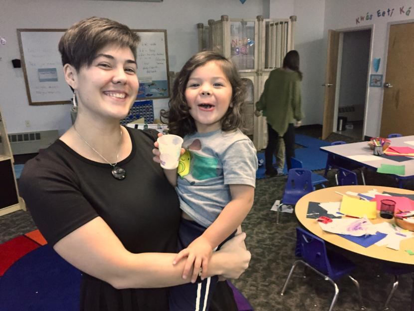 Madeline Soboleff Levy with her son Memo, a student in the Haa Yóo X̱'atángi Kúdi Lingít language nest, pictured in the classroom in Juneau on Oct. 9, 2019. (Photo by Zoe Grueskin/KTOO)