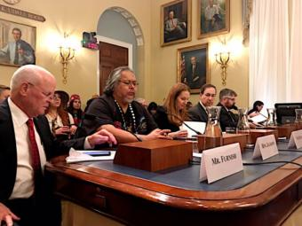 Kake Tribal Council President Joel Jackson, second from left, prepares to testify to the U.S. House Subcommittee on Public Lands. Photo: Liz Ruskin