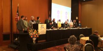 Mayors from 15 Alaska communities sign an agreement establishing a statewide commission to oversee the collection and remittance of online sales tax. (Photo courtesy of Michelle Hale)