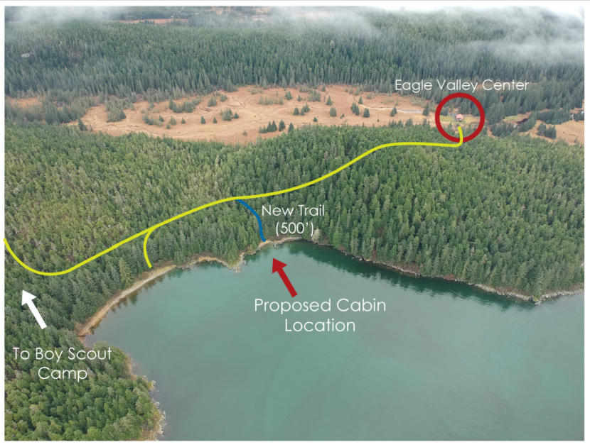 An aerial map showing the location of the new cabin the will be built at Eagle Landing Beach. (Image courtesy of City and Borough of Juneau)