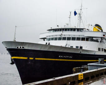 The MV Malaspina docked in downtown Juneau on Saturday for the first time since the ferry terminal moved to Auke Bay.