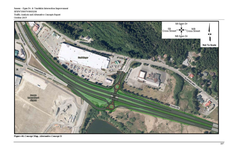 In a 210-page report about the accident-prone intersection of Egan and Yandukin drives in Juneau, Kinney Engineering illustrated how it could be rebuilt as a highway interchange.