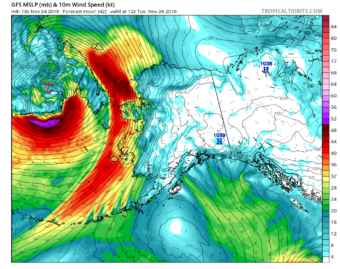 This map shows a storm inbound for the Northwest Arctic, with the color field representing wind speed. (Graphic courtesy of Rick Thoman)