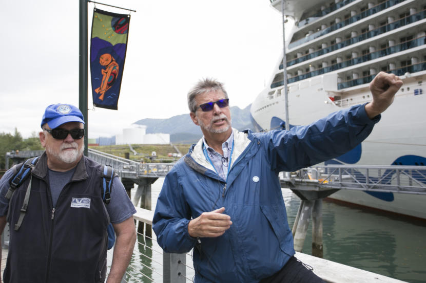 Kirby Day, port operations manager for the Holland America Group, points out changes to the waterfront at the Franklin Dock in downtown Juneau on July 17, 2019. Also pictured: Former Juneau Mayor Bruce Botelho.