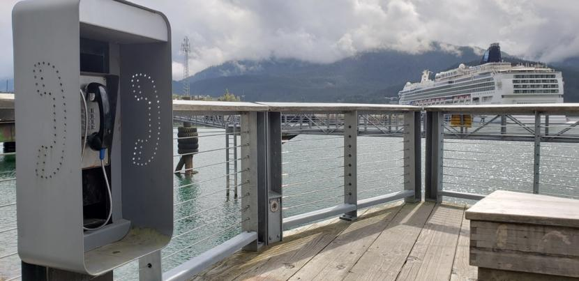 This is one of several free, public phones that the City and Borough of Juneau makes available in downtown Juneau, pictured here on Aug. 15, 2019. The city uses cruise ship head taxes pay for the service.