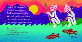 """This is a page from Sealaska Heritage Institute's new trilingual book of lullabies called """"Cradle Songs of Southeast Alaska,"""" to be released Dec. 6, 2019. This lullaby is attributed to Ḵaal.átk' Charlie Joseph and adapted by Ed Littlefield, and the illustration is by Crystal Kaakeeyáa Worl."""
