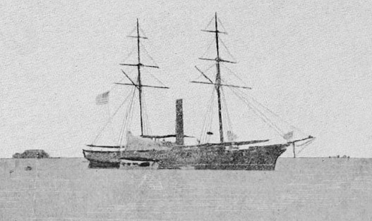 """The U.S.S. Saginaw was built in 1859 at the U.S. Navy's shipyard at Mare Island in California. A decade later, it shelled at least three Tlingit villages in Southeast Alaska. (Photo from George H. Read's 1912 book """"The Last Cruise of The Saginaw""""/Public domain)"""