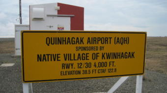 """QUINHAGAK AIRPORT (AQH) / SPONSORED BY / NATIVE VILLAGE OF KWINHAGAK / RWY. 12/30 4,000 FT. / ELEVATION 38.5 FT CTAF 122.8"""