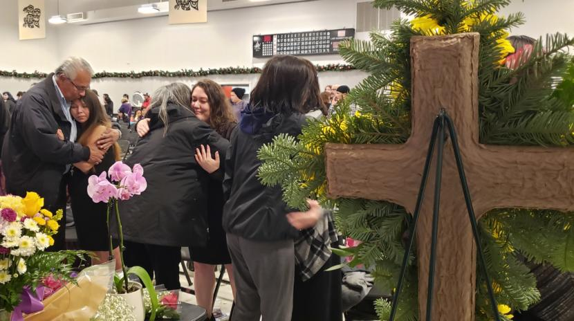 A procession of mourners embrace Abby Kelley's moms, Cecelia Williams, left, and Christina Vazquez, after funeral services on Dec. 1, 2019, at the Tlingit and Haida Community Center in Juneau. Abby Kelley died Nov. 21, 2019, after the car she was riding in sped off the road. A procession of mourners embrace Abby Kelley's moms, Cecelia Williams, left, and Christina Vazquez, after funeral services on Dec. 1, 2019, at the Tlingit and Haida Community Center in Juneau. Abby Kelley died Nov. 21, 2019, after the car she was riding in sped off the road.