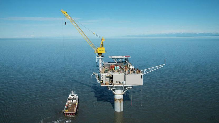 Furie Operating Alaska's Julius R Platform, installed in 2015 in Cook Inlet. Furie filed for bankruptcy on Aug. 9 and was purchased at a court auction by former Gov. Bill Walker's oil and gas adviser John Hendrix for $15 million. (Photo courtesy Anchorage Daily News via Furie Operating Alaska)