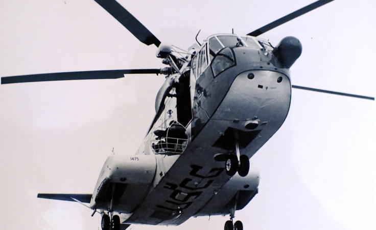 U.S. Coast Guard H-3 helicopter hoists a survivor aboard during the Prisendam rescue in October 1980. (Photo courtesy of U.S. Coast Guard)