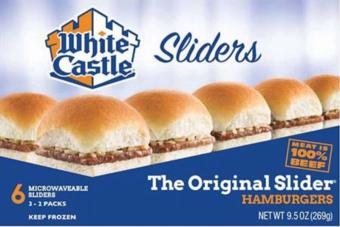 Image showing the front panel of a White Castle hamburger box