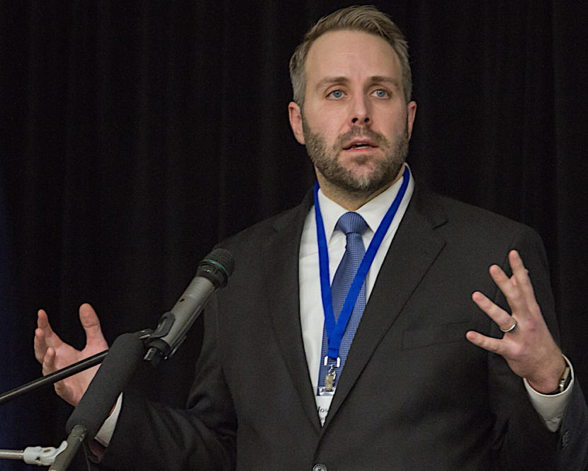 Joshua Kindred, then an attorney for the Alaska Oil and Gas Association, at a conference in 2018. (Photo courtesy Heather Holt)