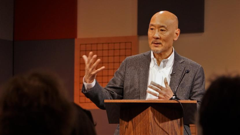 Ploughshares Fund Executive Director Philip Yun discusses North Korea, President Donald Trump and nuclear threats with the Juneau World Affairs Council @360 in Juneau on Jan. 24, 2018.