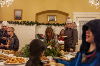 Hundreds of people stopped by the Governor's Mansion for the annual Christmas open house on Tuesday, Dec. 10, 2019, in Juneau, Alaska.