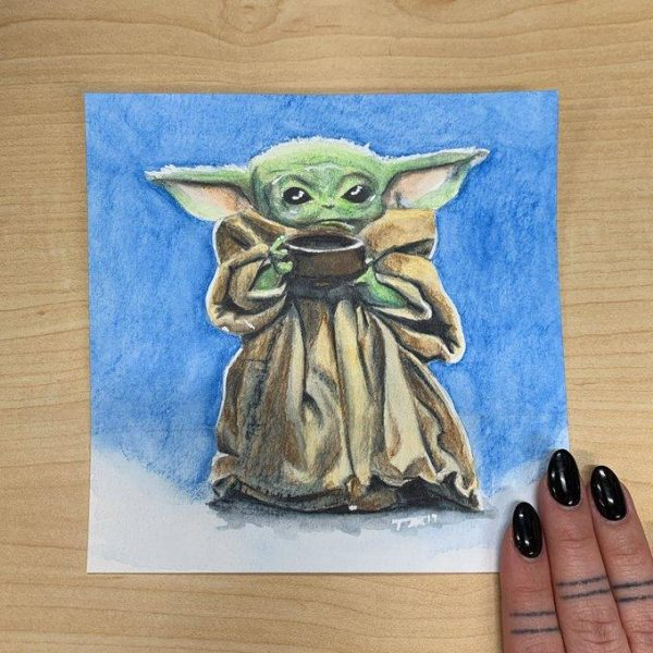 Tristan Agnauraq Morgan (Inupiaq) painted a Baby Yoda as a gift to a friend. (Photo courtesy Tristan Agnauraq Morgan)