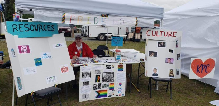 Tammie Willis staffing a Pride table during Pride in the Park in 2019 in Soldotna, Alaska. (Photo courtesy Tammie Willis)