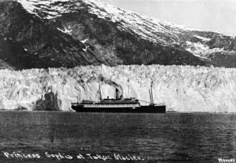 Princess Sophia at Taku Glacier sometime before October 1918. (P289-137 Alaska State Library - Sadlier/Olsen Family Collection)