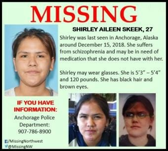One of several missing posters distributed online following Shirley Skeek's disappearance. (KFSK)
