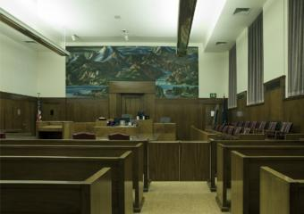 A courtroom in the Anchorage Federal Building.