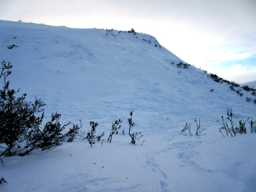Close up view of the crown where the avalanche started on Dec. 30, 2019 that killed two men and partially buried another person. This hill is located near the entrance to the Chuck Creek Trail, also known as the Samuel Glacier parking lot, in the Chilkat Pass or Haines Pass area. The avalanche appeared to extend as much as 300 feet wide.