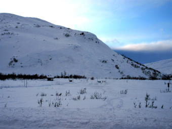 Picture taken Jan. 1, 2020 of the avalanche that killed two men and partially buried another person on Dec. 30, 2019. This hill is approximately 500 feet high and is located near the entrance to the Chuck Creek Trail, also known as the Samuel Glacier parking lot, in the Chilkat Pass or Haines Pass area. The avalanche appeared to start just below the crown in the center of the picture and appeared to extend as much as 300 feet wide.