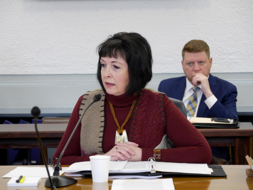Sen. Shelley Hughes, R-Palmer, discusses the report produced by the Bicameral Permanent Fund Working Group. The group held its last meeting on Monday, Jan. 20, 2020, in the Capitol in Juneau. Photo by Skip Gray/360 North