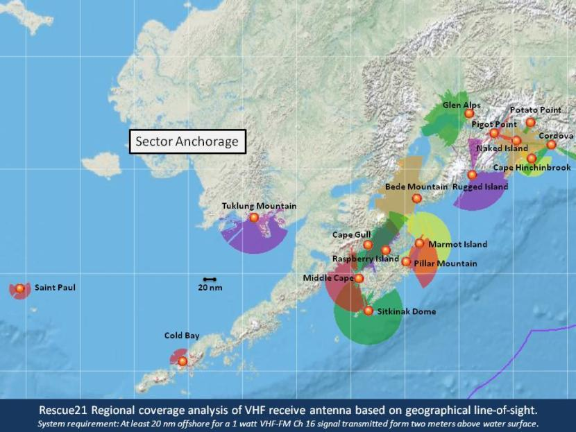 A map showing VHF signal coverage areas in Southcentral Alaska.
