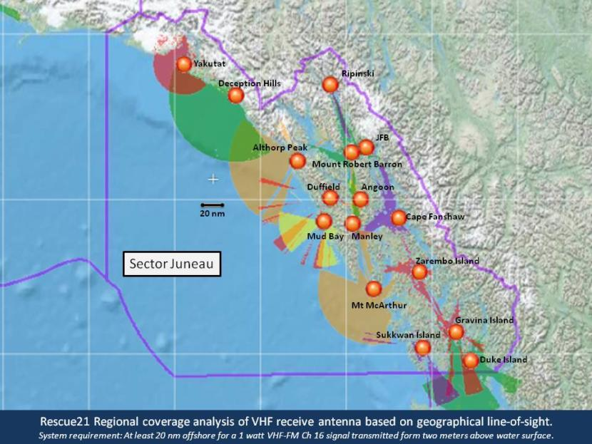 A map showing VHF signal coverage areas in Southeast Alaska.