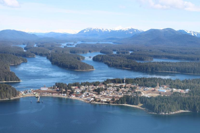An aerial view of Angoon, a small coastal village in Southeast Alaska.