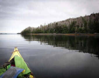 Lauren Oakes paddles to a research site in the West Chichagof-Yakobi Wilderness of Southeast Alaska. (Photo courtesy of Lauren Oakes)