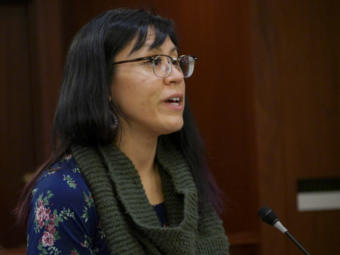 Rep. Tiffany Zulkosky, D-Bethel, speaks during a House floor session in the Alaska Capitol in Juneau on Feb. 23, 2020.