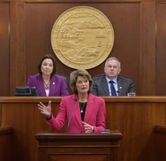 U.S. Sen. Lisa Murkowski, R-Alaska, gives her annual address to the Alaska Legislature in Juneau on Tuesday, Feb. 18, 2020.