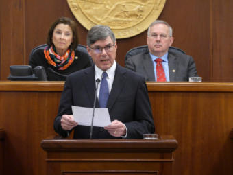 Alaska Supreme Court Chief Justice Joel Bolger delivers the annual State of the Judiciary Address to the Alaska Legislature in Juneau on Feb. 12, 2020.
