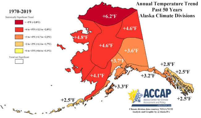 Map with temperature trends across the state over 50 years