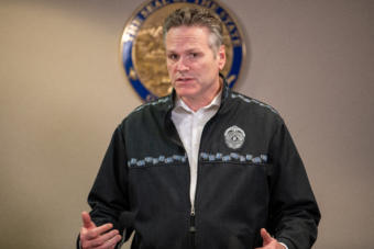Alaska Gov. Mike Dunleavy speaks about the state's COVID-19 response from the Atwood Building in Anchorage on March 23, 2020.