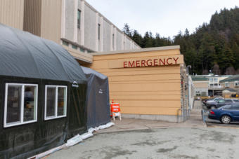 A triage tent is set up to screen patients for symptoms of COVID-19 outside on Monday, April 7, 2020 at Bartlett Hospital in Juneau, Alaska. (Photo by Rashah McChesney/KTOO)