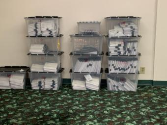 Ballots from the Alaska Democratic presidential primary sitting at the party's counting facility Saturday, April 11, 2020. (Courtesy Alaska Democratic Party)