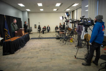 Gov. Dunleavy holds a press conference on COVID-19 in the Atwood Building in Anchorage on March 31, 2020.