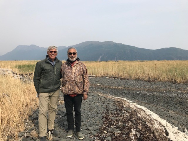 Byron Mallott, left, and Willie Hensley pose for a photo at Three Saints Bay on Kodiak Island in August 2019.