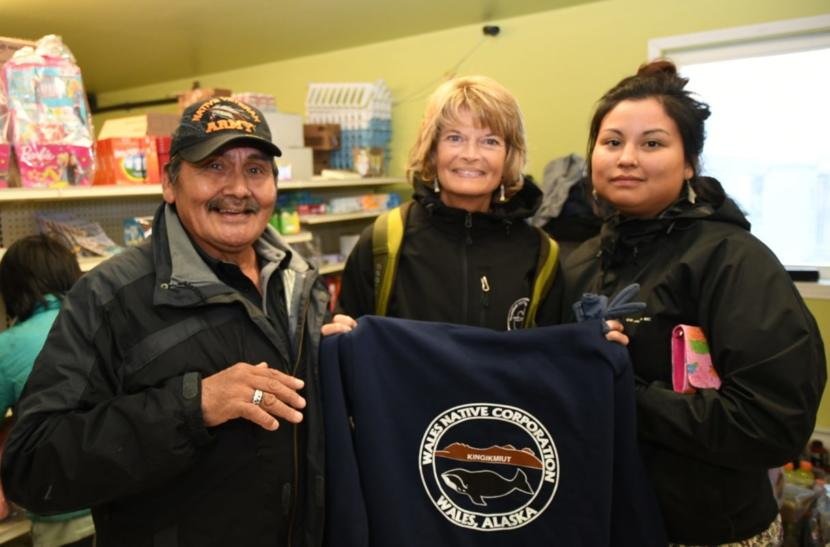 Frank Oxereok of Wales poses with Senator Murkowski and another Wales resident at the local store. (Karina Borger/Office of Lisa Murkowski)