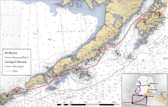 GCI's proposed project would bring undersea fiber optic cable from Kodiak to Unalaska, spanning approximately 860 miles. (Photo courtesy of GCI)