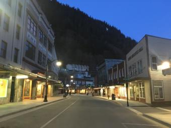 Front Street in downtown Juneau, an area typically known for its nightlife, is empty on Saturday night, April 18, 2020. (Photo by Ryan Cunningham/KTOO)